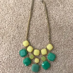Yellow Green & Teal Bauble Statement Necklace